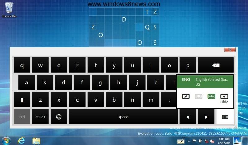 Teclado virtual Windows 8