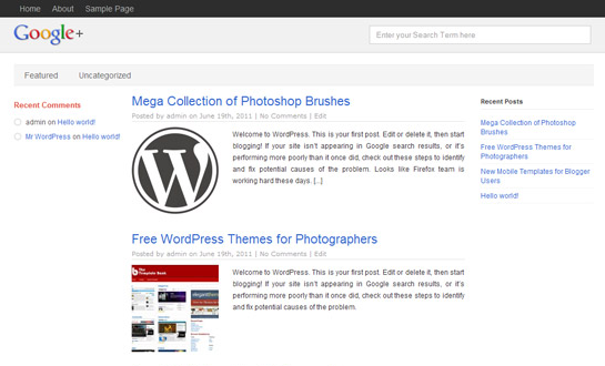 google + wp theme