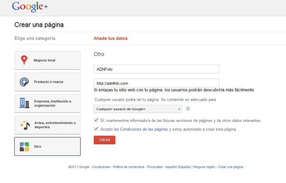 crear pagina en google+ paso 2