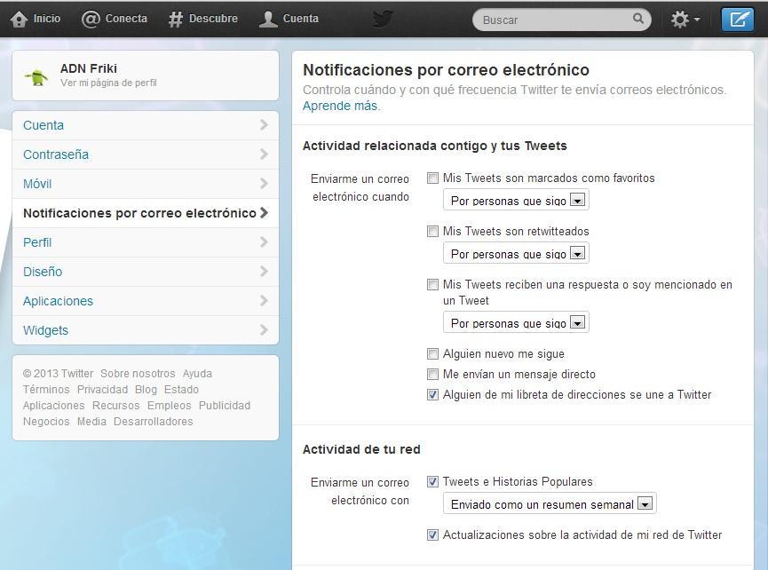 desactivar notificaciones de correo twitter