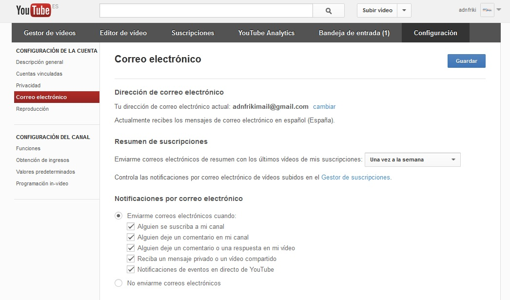 desactivar notificaciones de youtube