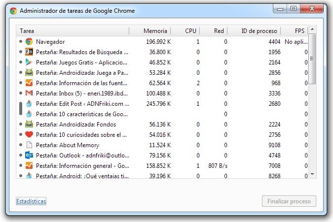 administrador tareas google chrome