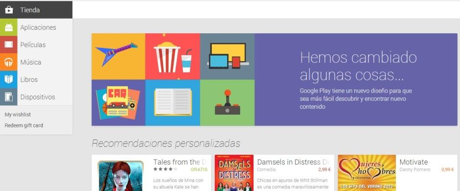 nuevo google play web