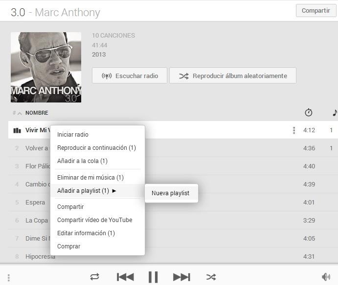 crear playlist google play music premium