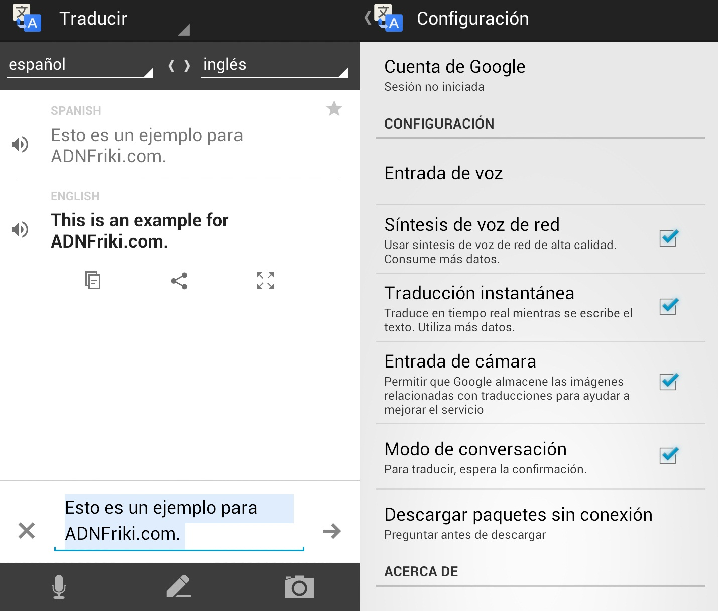 traductor google android