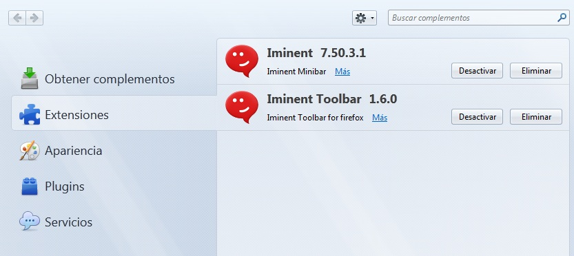 Eliminar Iminent Firefox