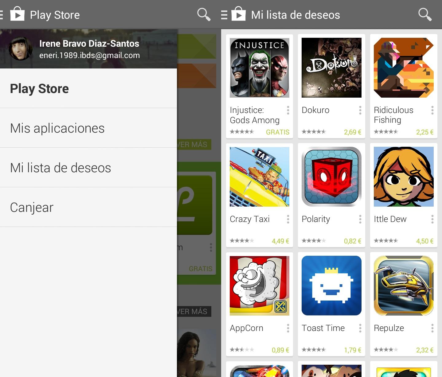 Mi lista de deseos Google Play