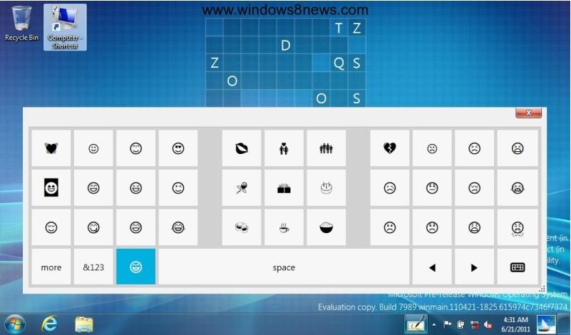 Teclado virtual Windows 8 emoticonos