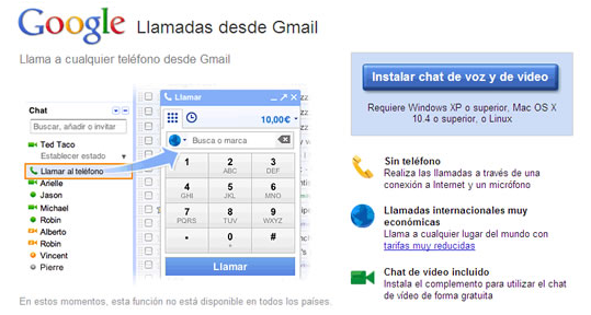 llamadas gmail españa
