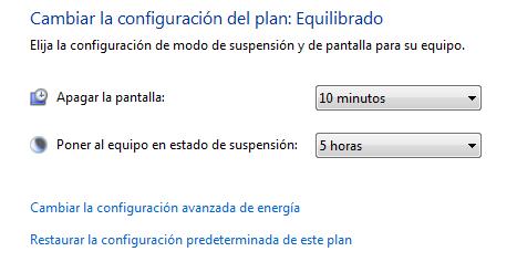 desactivar suspensión windows 7