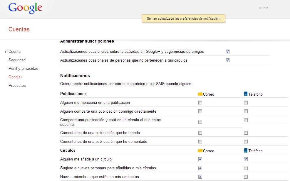 desactivar notificaciones de correo google+