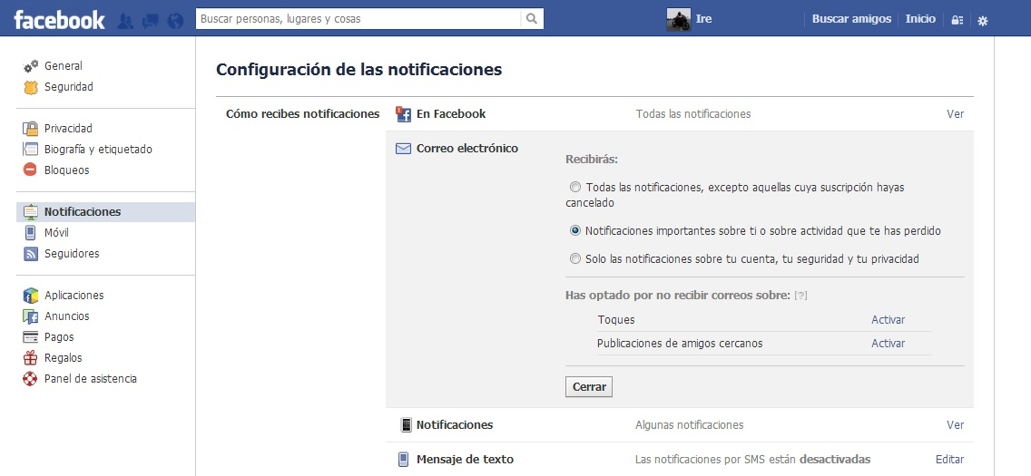 desactivar notificaciones de facebook