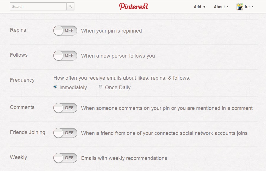 desactivar notificaciones de pinterest