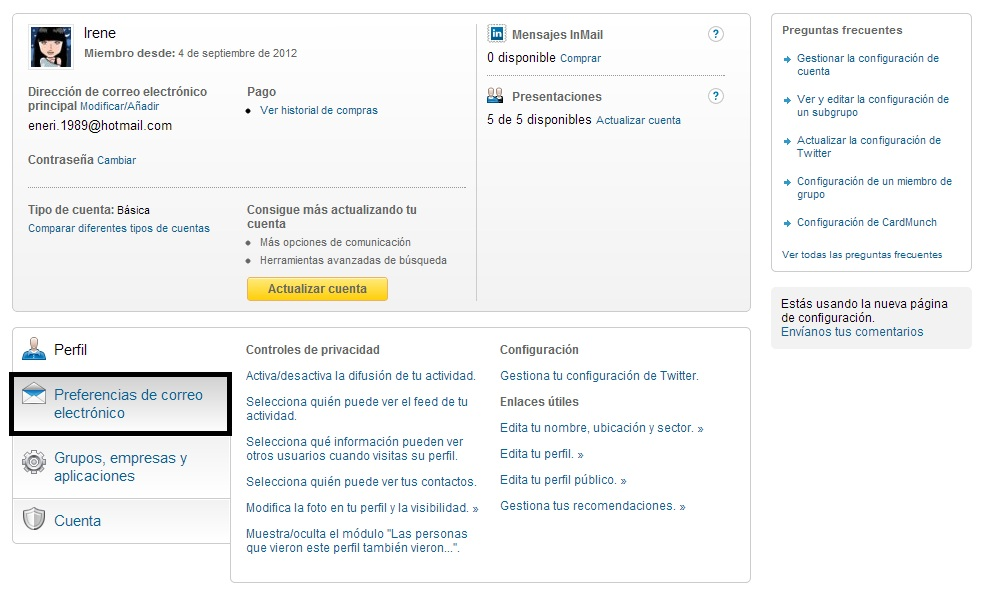 preferencias de correo electronico linkedin