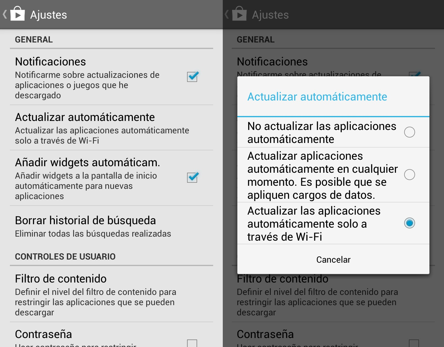 actualizar apps solo via wifi android