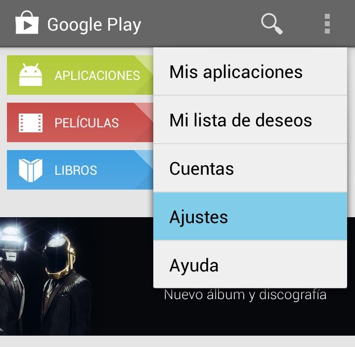 ajustes google play