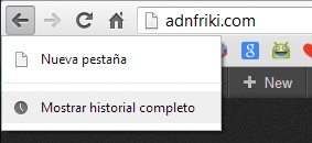 atajo historial chrome