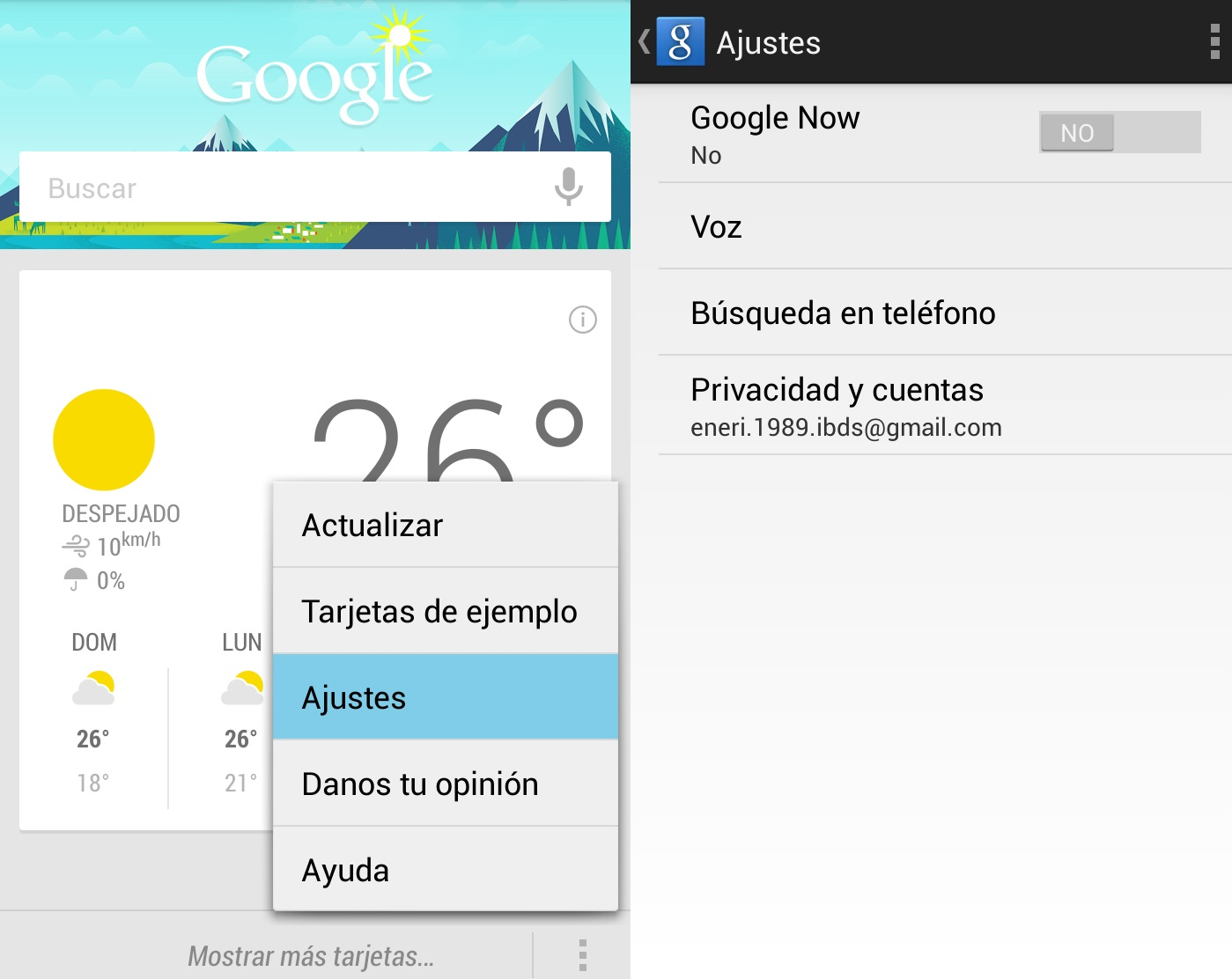 desactivar google now