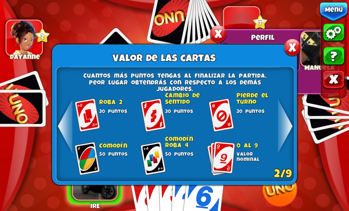 valor cartas uno friends