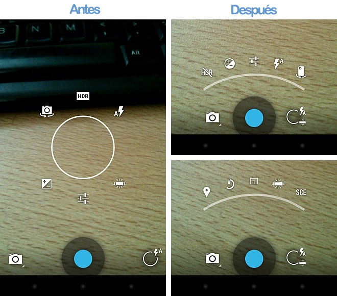antes y despues camara android 4