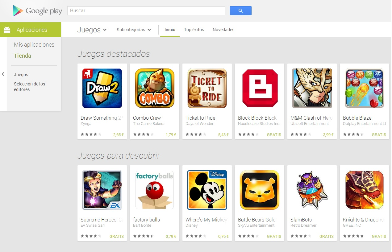 google play nueva version web