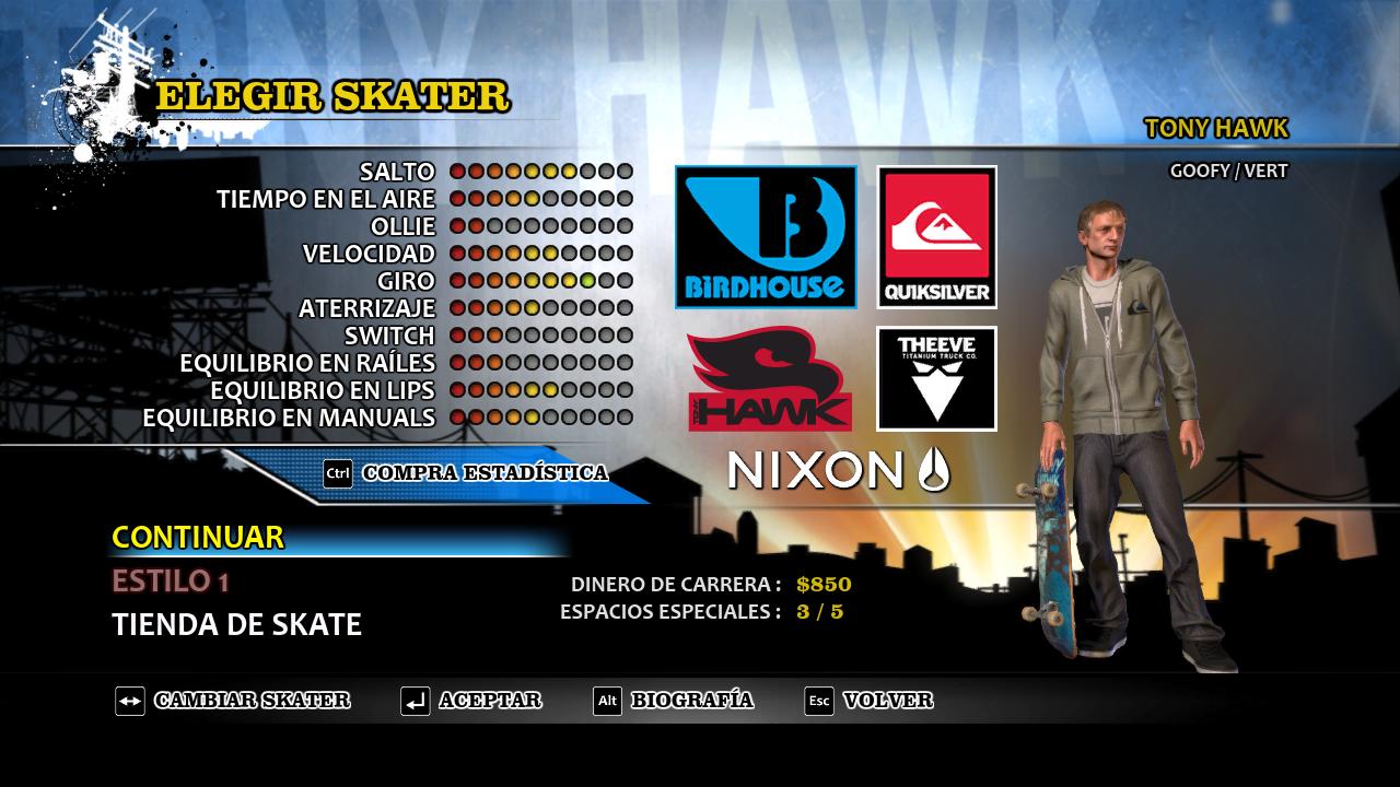 Elección Skater Tony Hawks HD