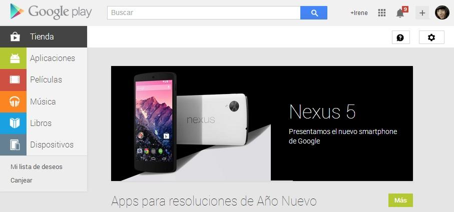 Lista de deseos Google Play PC