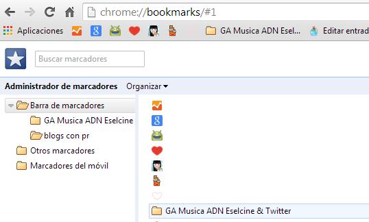 Administrador de marcadores Chrome