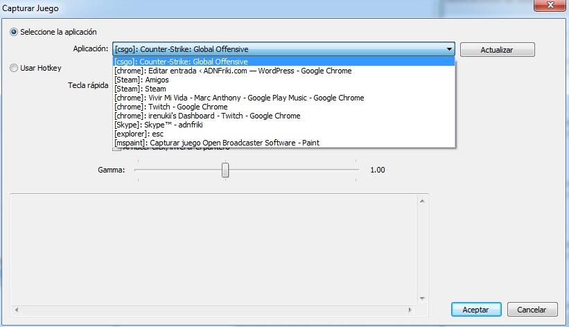 Selección juego a capturar con Open Broadcaster Software