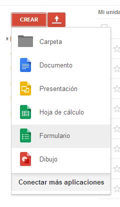 Crear formulario Google Drive