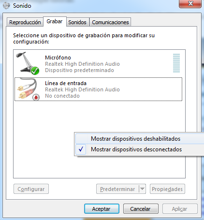 Mostrar dispositivos deshabilitados Windows 7